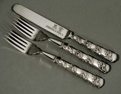 Chinese Export Silver Flatware Set   (3)     DRAGON         Signed        2-2