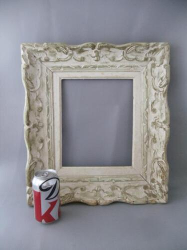 "ANTIQUE SHABBY VTG CHIC WHITE WASH CARVED WOOD PICTURE FRAME 8"" X 10"""