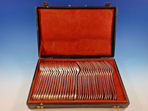 Louis XVI by Puiforcat Sterling Silver Dinner Setting 36 Pieces in Fitted Box
