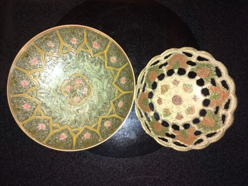 vintage hand painted brass india floral bowls (set of 2)