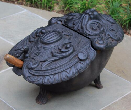 Antique French Cast Iron Victorian Gothic Fireplace Hearth Coal Hod Scuttle #2