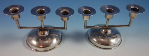 Maciel Mexican Mexico Sterling Silver Candelabra Pair 3-Light (#1665) Modernist