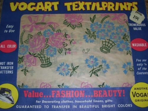 1950s Four Color Vintage Vogart Roses /& Ribbons Uncut Hot Iron No Sew Transfer