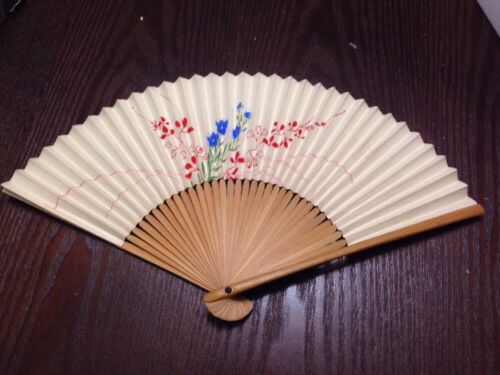 Antique Hand Fan. Paper And Wood.