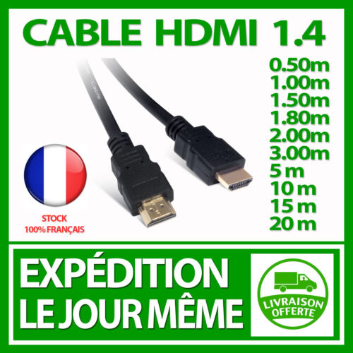 HDMI CABLE 1.4 FULL HD TV BLU RAY PLAYSTATION XBOX 360 1080P 4K GOLD HIGH SPEED