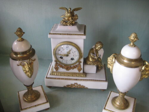 French Three Pieces Clock Set, Marble and Bronze