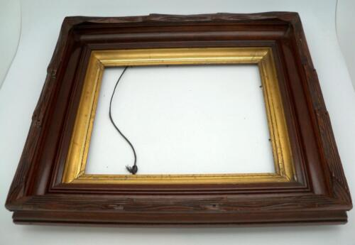 Victorian Eastlake Walnut Dark Wood  Deep Well Carved  Picture Frame