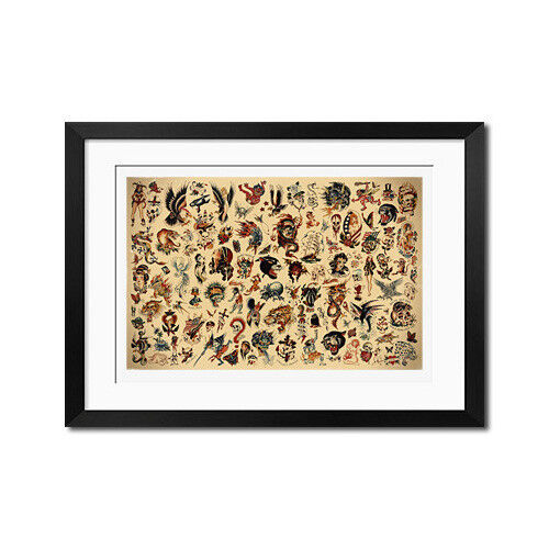 Sailor Jerry x Ed Hardy Classic Old School Vintage Tattoo Flash Poster Print