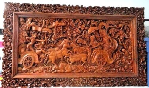 ANTIQUE GIANT HAND CARVED WOOD WALL PANEL