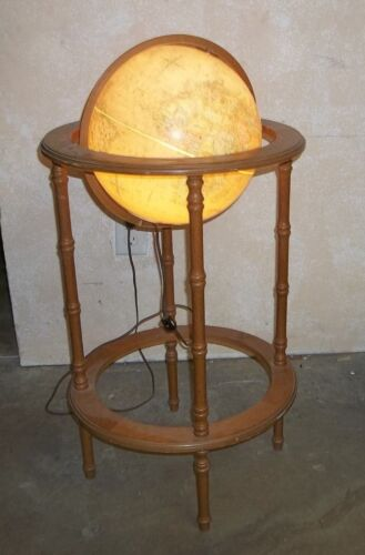 """Vtg 12"""" Replogle LIghted World Globe/Tall Wood Stand/Texture Geographics/Works"""