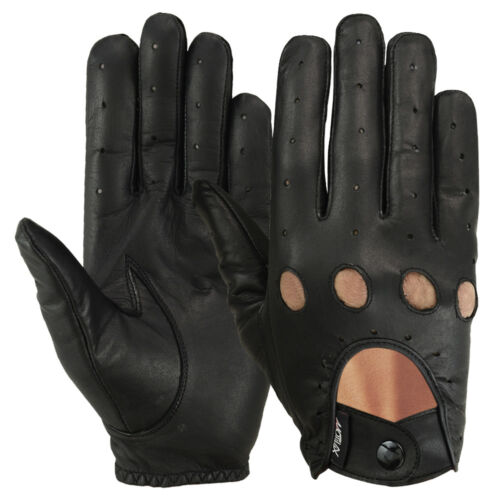 Driving Gloves Car Motorcycle Bikers Genuine Leather Police Drivers Glove Black