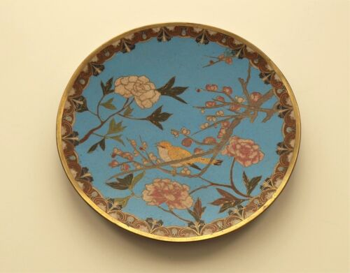 "19th C. Chinese CLOISONNE Enamel 9.5"" Plate / Charger, Bird & Flowers"