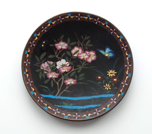 """19th C. Chinese CLOISONNE Enamel 9.75"""" Plate / Charger, Butterfly & Flowers"""