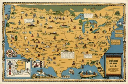 Indians of the USA Native American Tribes Mid-century Pictorial Map Wall Poster