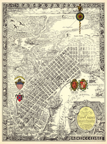 Vintage Pictorial Map creole city of New Orleans Wall Art Poster Print Decor