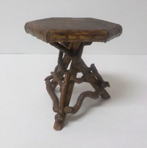 """Vintage Hand Crafted 4.5"""" Doll's Country / Primitive TWIG Occasional Table (#5)"""