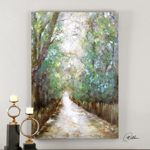 Contemporary Impressionist Forest Path Wall Art | Large Oil Painting Trees