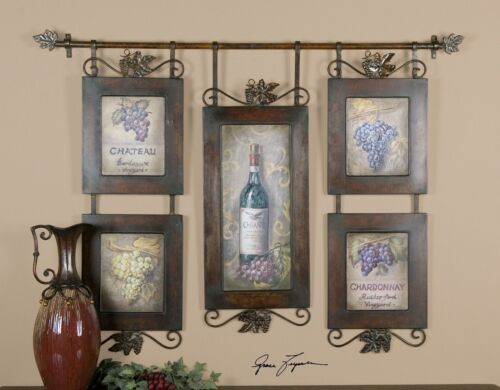 Wine Bottles Grapes Hanging Collage Artwork | Kitchen Winery Wall Art