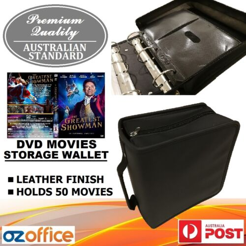 PREMIUM 50 DVD Movie Storage Case Wallet Black Leather Folder Album DVD Sleeves