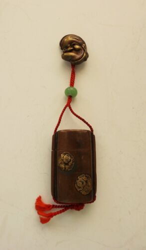 Japanese Single Case INRO, Jade OJIME, Bronze Mask NETSUKE