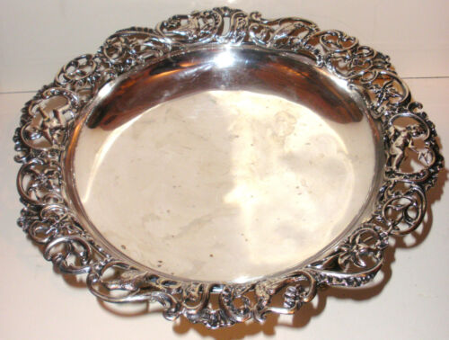 Antique Gorham circa 1880`s Sterling silver open work bowl cherubs angels birds