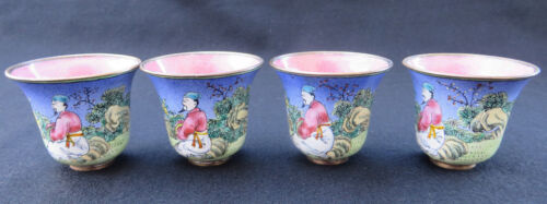 SET OF 4 OLD CHINESE HAND PAINTED PEKING ENAMEL ON COPPER CUPS