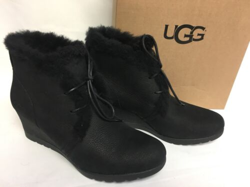 UGG Australia Jeovana Boots Black Suede Waterproof WP 1017421 Wedge Lace Up