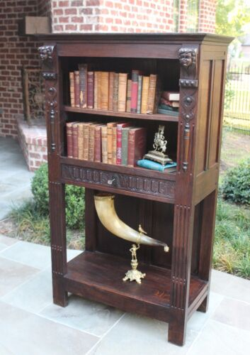 Antique French Oak Gothic Revival Bookcase Etagere Display Cabinet Drawer Angels