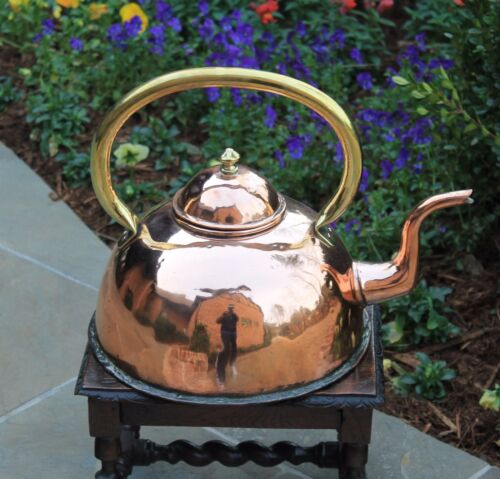 Antique English Copper & Brass Tea Kettle Teapot Coffee Pot Water Kettle LARGE