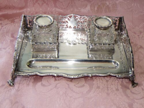 Fine English Sterling Silver Gallery Inkstand William Hutton & Sons ~1909