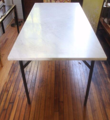 Mid Century Marble Dining Table with Steel Base