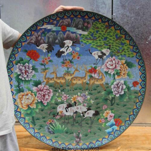 30 Palace old Copper Cloisonne Enamel spotted deer Red-crowned crane dish Plate