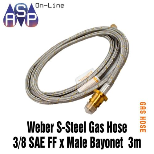 """3m Weber Q  BBQ to LPG gas bottle POL x 3//8/"""" SAE Stainless Steel hose"""