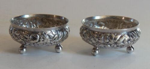 Pair TIFFANY & CO. Repousse Silver Soldered Footed Salt Cellars