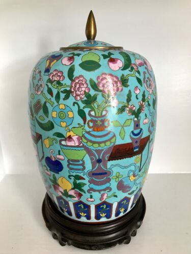 """RARE 14""""+ Old Chinese Cloisonne Ginger Jar & Lid ~Precious Objects ~Superb Stand"""