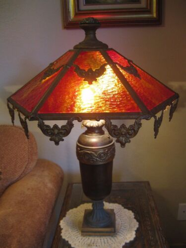 Vintage Antique Red Amberina Slag Glass Deco Brass Shade Dragon Base Table Lamp