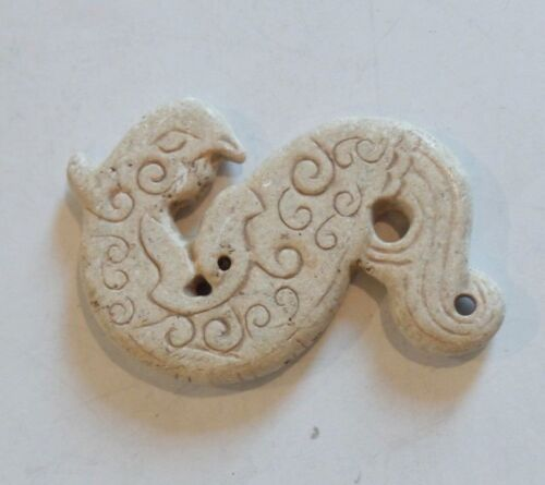Chinese Hand Carved White Hard Stone Amulet (#1)