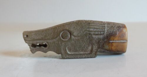 19th C. Hand Carved Chinese Jade Handle, Stylized Beast