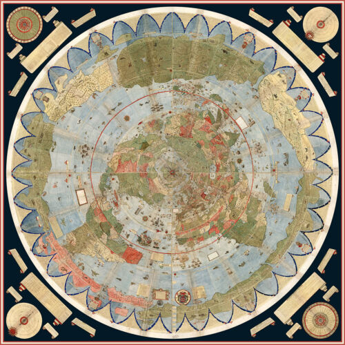 1587 Flat Earth Map of the World Urbano Monte Historic Wall Poster Globe Model