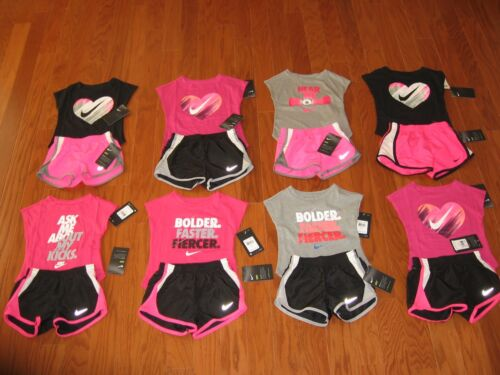 Nike 2 Pc Outfit Set Tee Shirt & Dri Fit Shorts Toddler Girls 2T/3T/4T NWT