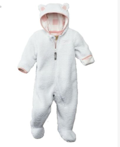 New Cabelas Soft Plush White One Piece Baby Girl Bear Suit Snow pink Winter