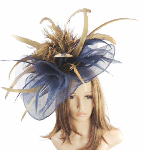 Navy & Gold Fascinator for Ascot, Weddings, Proms, Derby S4