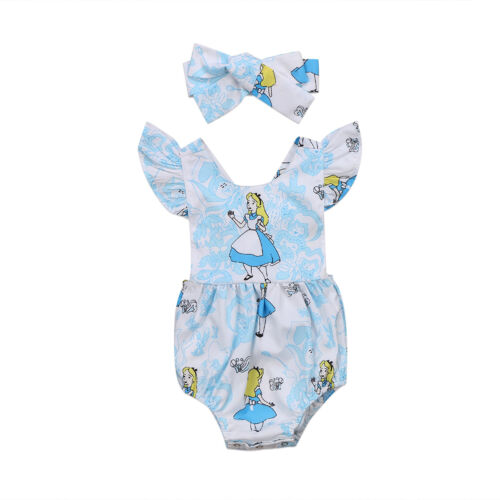 NEW Disney Alice in Wonderland Baby Girls Romper Bodysuit Headband Outfit Set