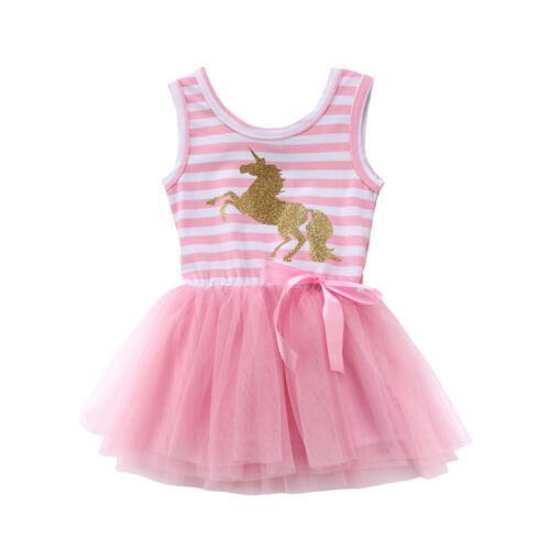NWT Girls Gold Glitter Unicorn Pink Striped Sleevless Tutu Dress 2T 3T 4T 5T