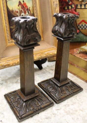 Antique English Oak PAIR Acanthus Carved Candlesticks Candle Holders Jacobean