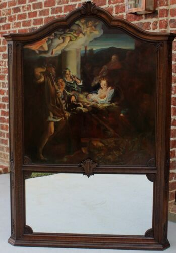 Antique French TRUMEAU Mirror Oil on Board Nativity Christian Jesus