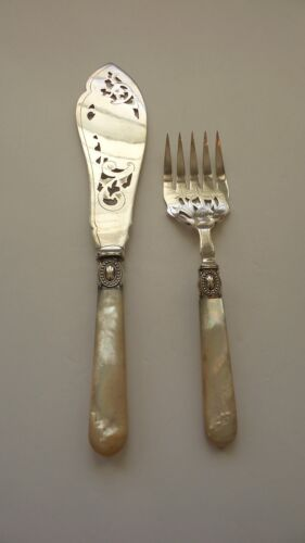 English Silver Plate Fish Carving Set, Mother-of-Pearl Handles, c. 1880