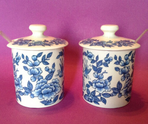 2 TWO Blue James Kent Covered Jars Old Foley Imari Staffordshire England