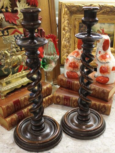 Antique English Oak PAIR Open Barley Twist Candlesticks Candle Holders TALL