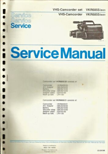 Philips VKR6855 VHS Camcorder Service Manual